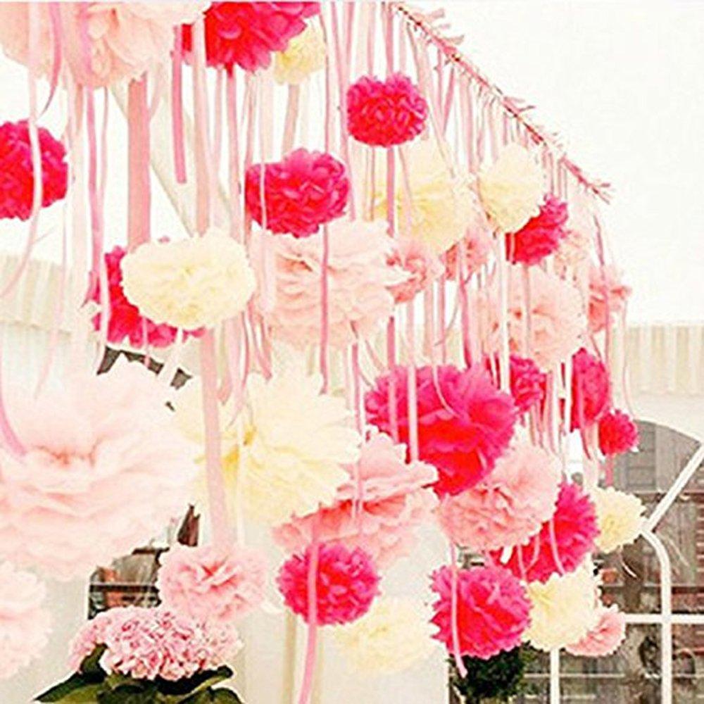 Amazon.com: Bekith 30 Piece 10 inch Tissue Paper Pom Poms Flower ...