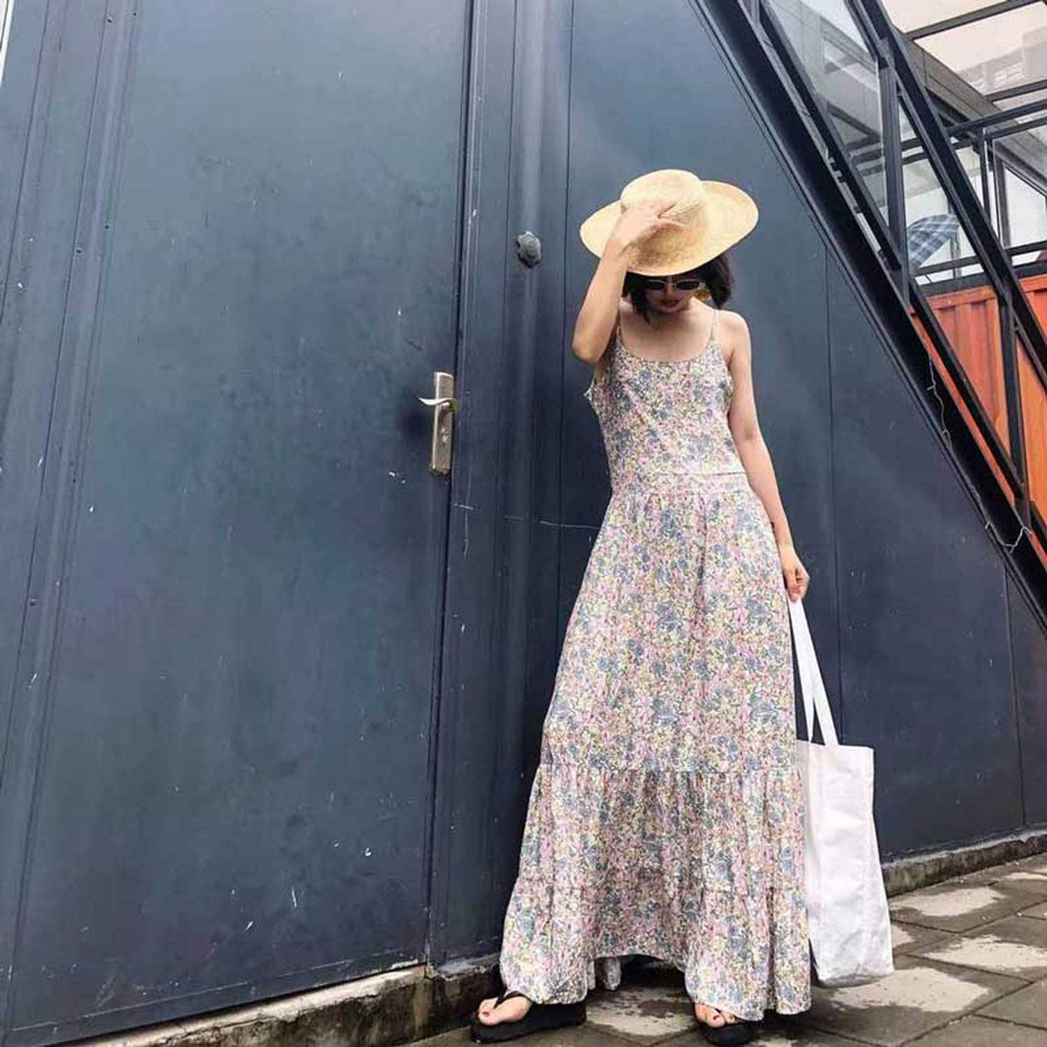 Womens Maxi Dress Vintage Floral Print Fitted Bodice Flowing Summer Dresses Strappy Casual 2019