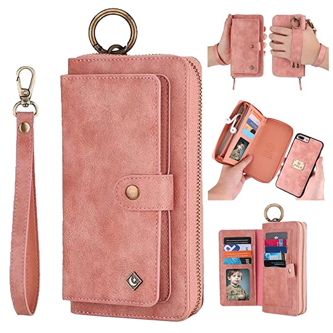 new products 2a5a3 18b93 iPhone 8 Plus Wallet Case Magnetic Detachable,iPhone 7 Plus Wallet Case  Magnetic Detachable,AIFENG Zipper Wallet Leather Flip Folio Case Cover with  ...