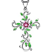 Angelady Collier Pendentif Croix Argent pour Femme avec des Cristaux Swarovski, Bijoux Ensemble Argent Or Rose pour Femme Cadeau Anniversaire Femme Maman
