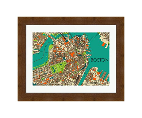 Amazon Com Boston Map Mid Century Modern Art Map Print Mcm Art