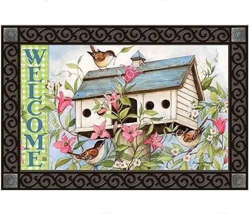 Magnet Work MatMates Spring Birdhouse with Clematis Doormat Insert – 18 x 30