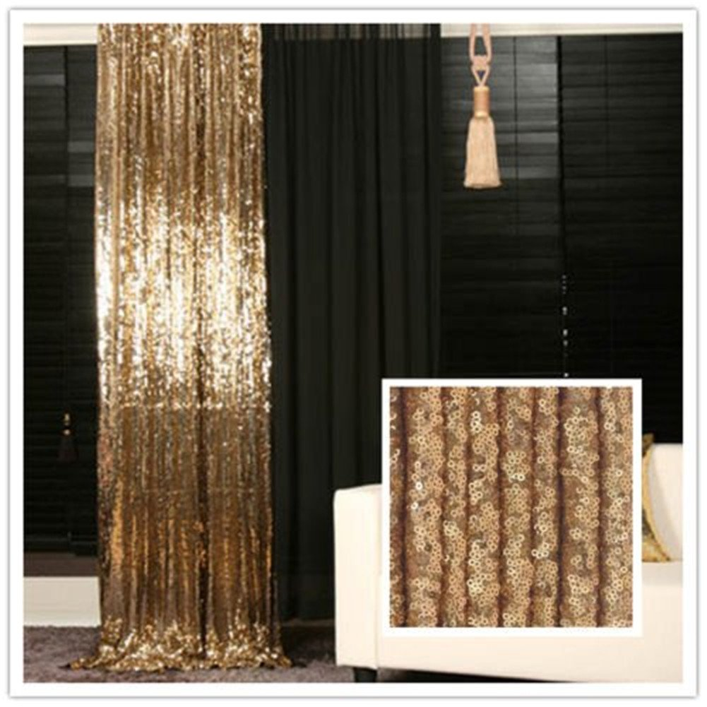 TRLYC 8FT X Sparkly Photo Booth Backdrop Gold Sequin Fabric Wedding Curtain Amazoncouk Kitchen Home