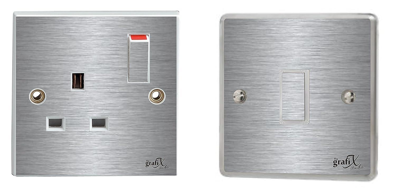 Brushed Silver Single Light Switch & Plug Socket Sticker Vinyl / Skin cover the grafix studio