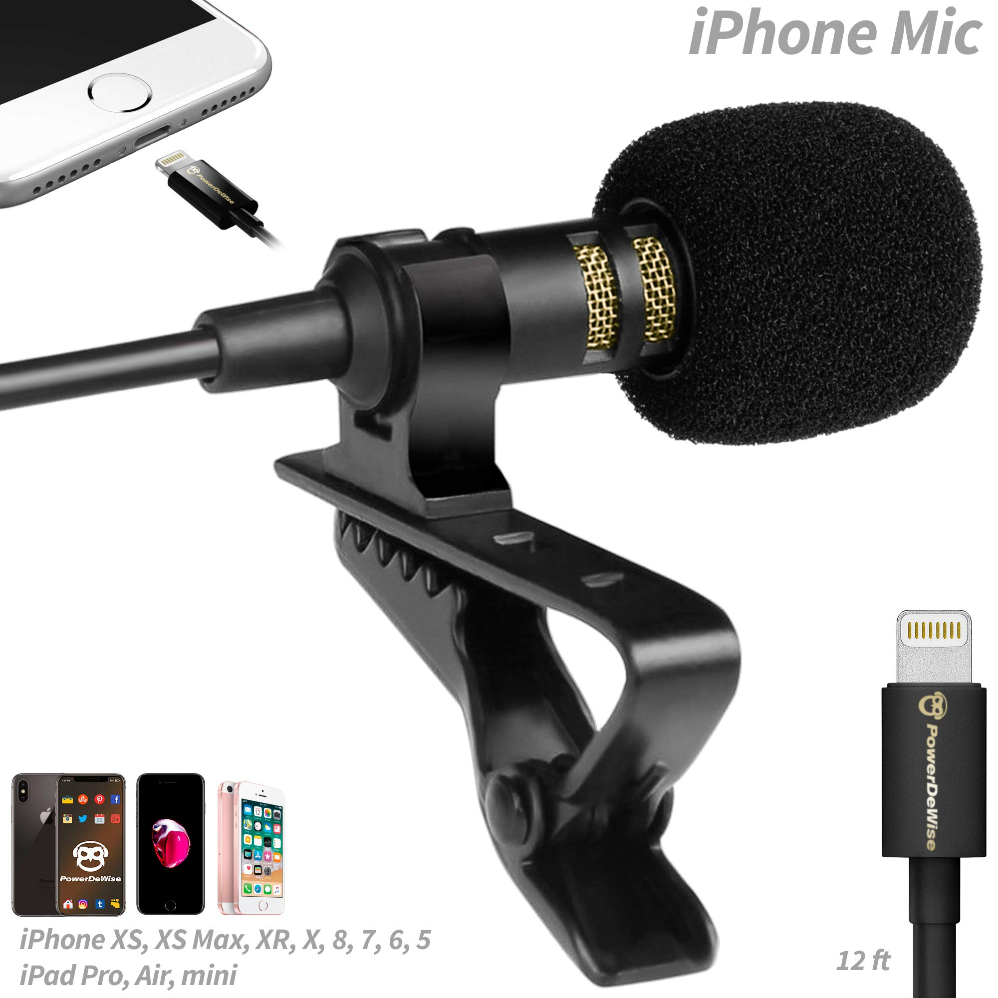 PowerDeWise Microphone for iPhone with Lightning Connector - iPhone Lightning Microphone - Excellent Mic iPhone 6 7 8 X by PowerDeWise (Image #1)
