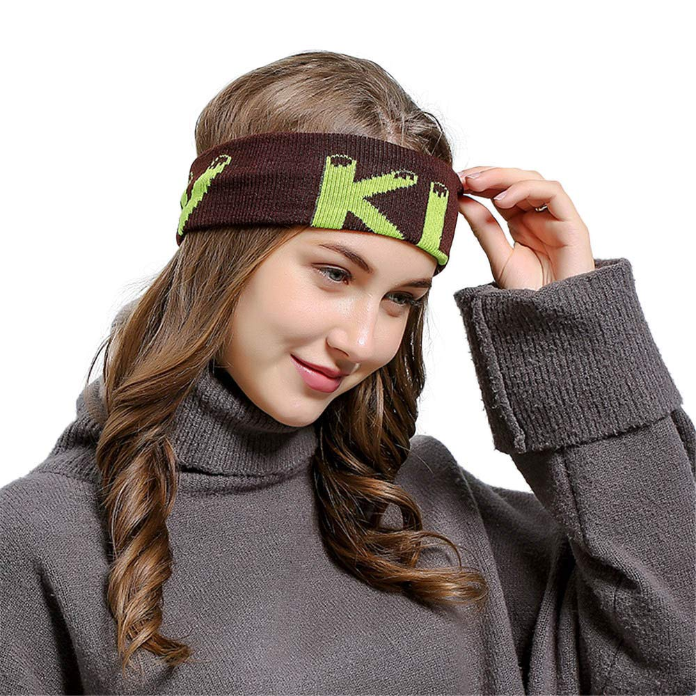 HULKAY Unisex Hair ball Knitting Headband Outdoor Minimalist Sports Style(Coffee)