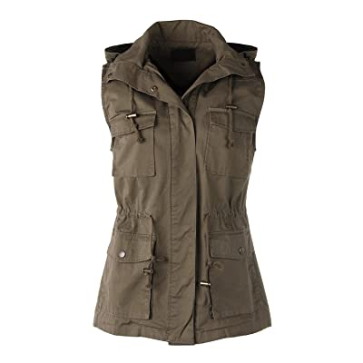 ZIMEGO Women's Lightweight Sleeveless Safari Pockets Military Hooded Vest at Women's Coats Shop