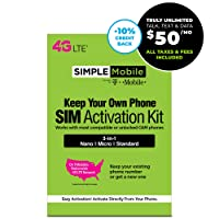Deals on Simple Mobile SIM Card + $50 Stored Value Card Subscription