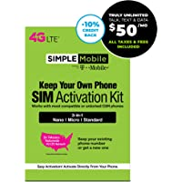 Simple Mobile SIM Card + $50 Stored Value Card Subscription