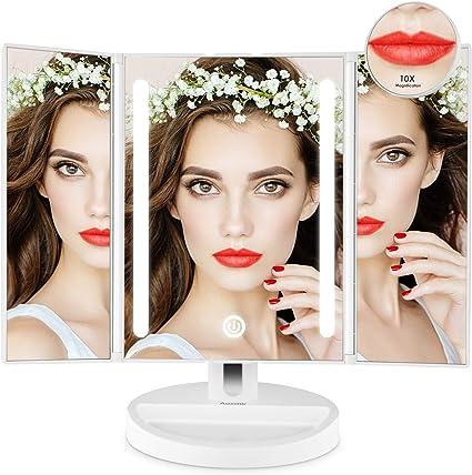 Doppio Alimentatore Rosa Specchio per Il Trucco con 8 LED Luminosi Salmue Specchio per Il Trucco Illuminato Specchio a Tre Ante Portatile Rotazione Regolabile a 180 /°