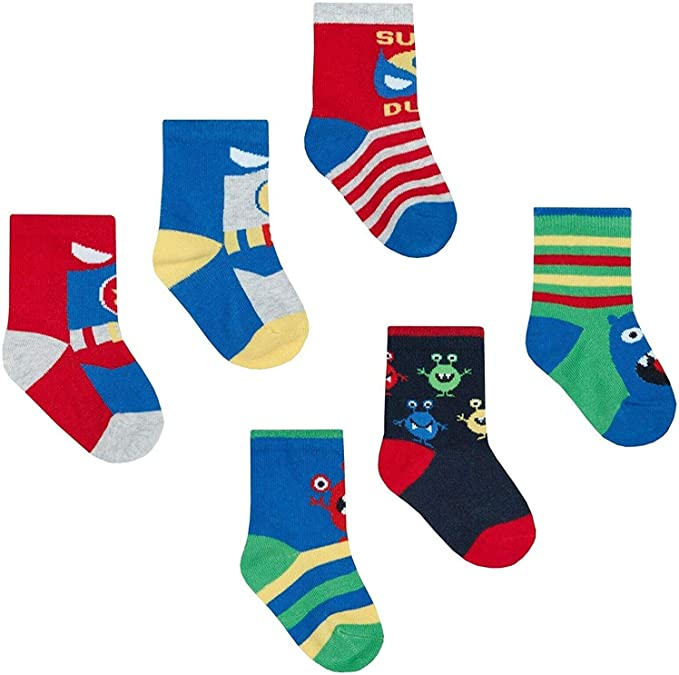 Stretch Comfortable Kids Novelty Socks Cotton Rich Soft 6 Pairs