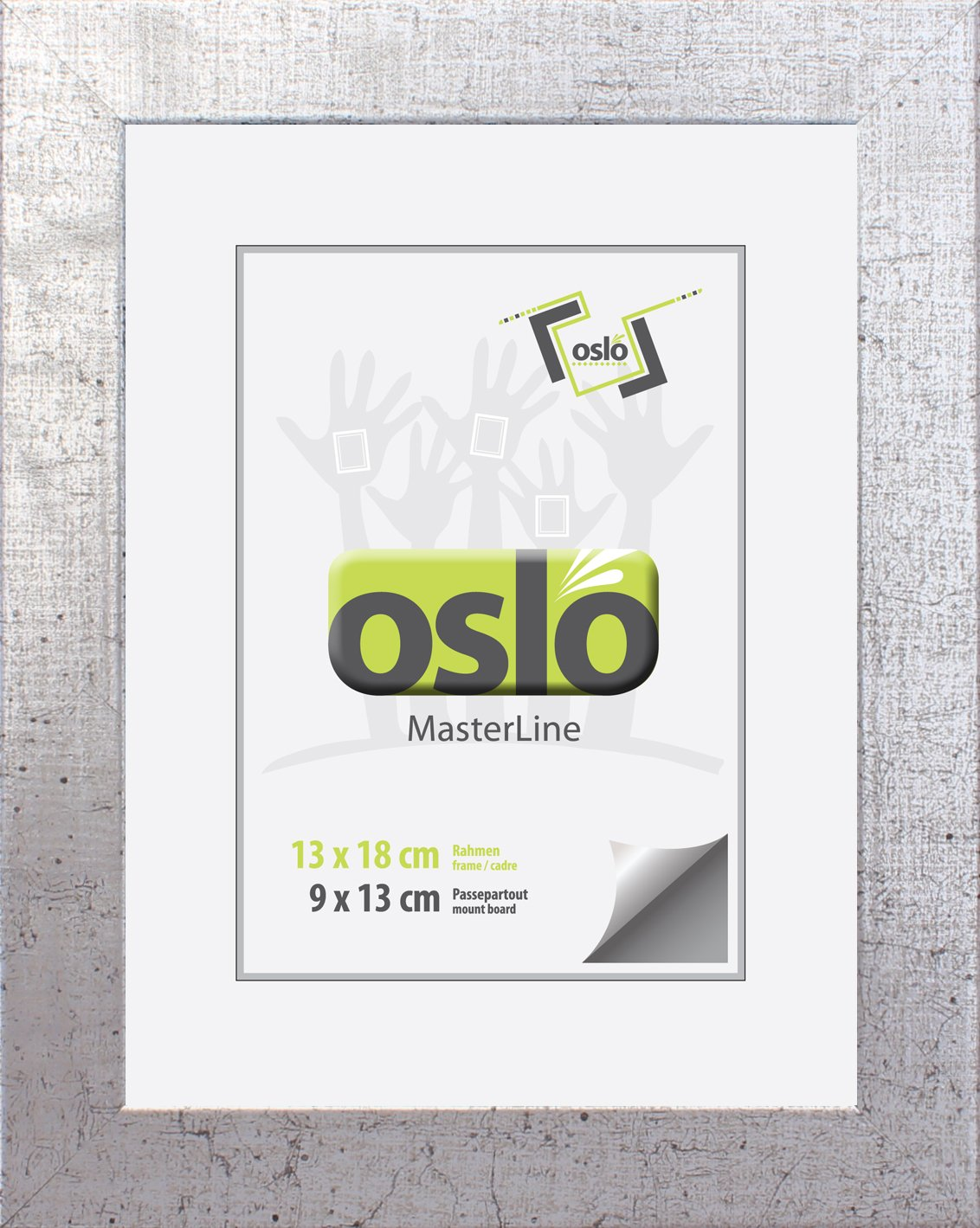 OSLO MasterLine Bilderrahmen 13x18 silber marmoriert, massiv Holz ...