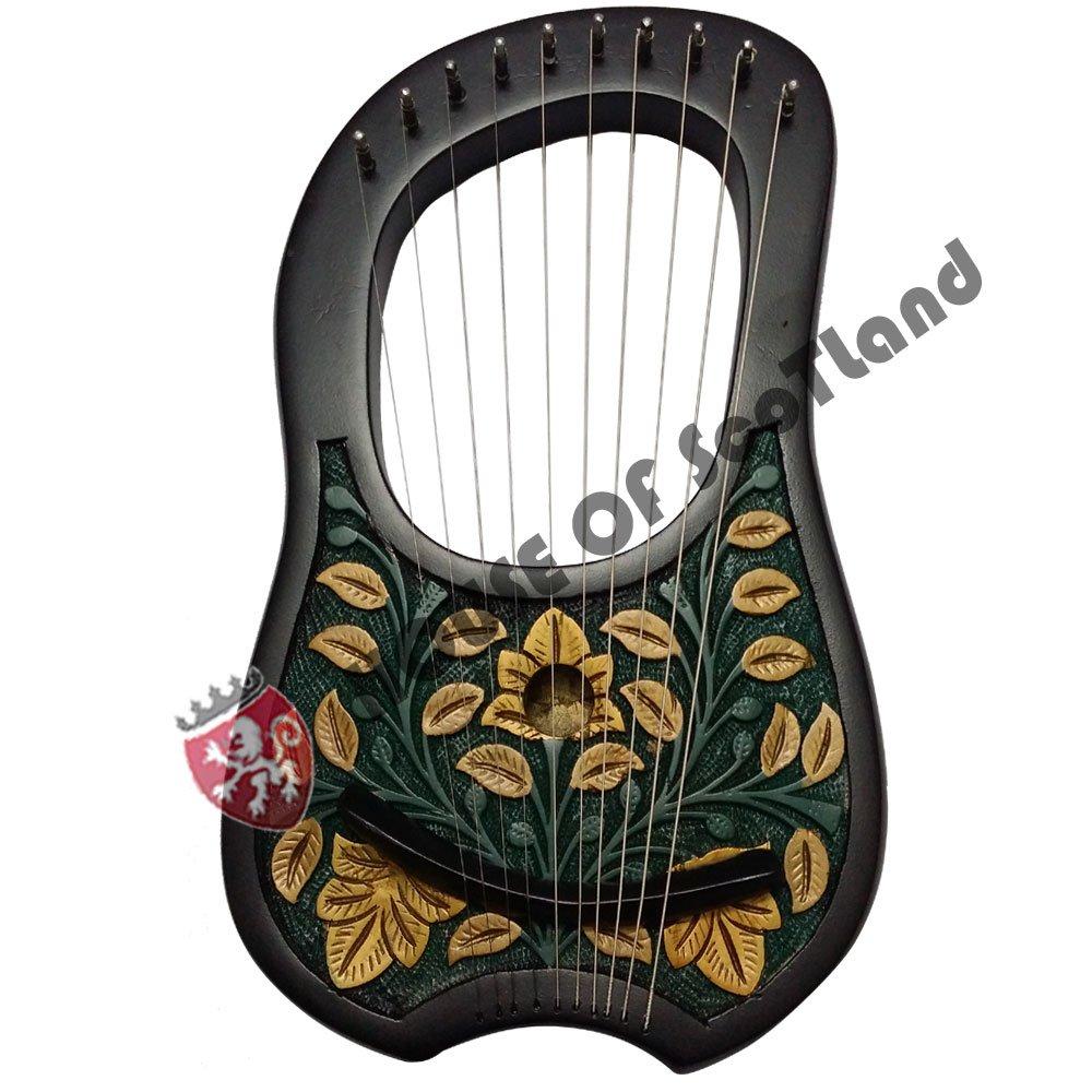 Grabado Lira (harp10Metal cuerdas/Lyra Arpa + bolsa de transporte, llave de afinación/Harfe AC Products