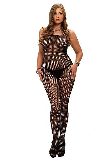 c35d59e5c Amazon.com  Leg Avenue Sexy Plus Size Lingerie Crochet Fishnet Bodystocking   Clothing