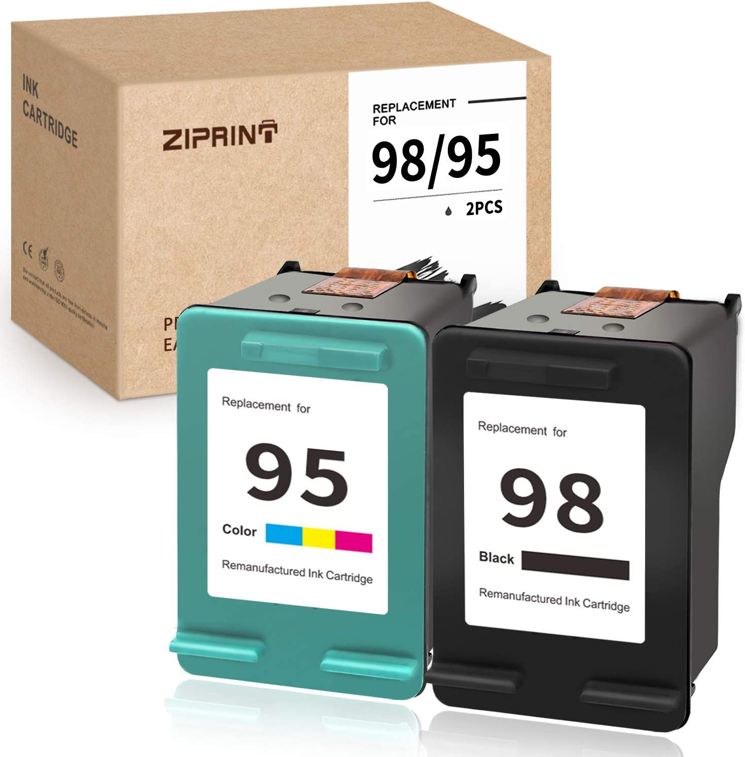ZIPRINT Remanufactured Ink Cartridges Replacement for HP 98 95 (C9364WN C8766WN) for Deskjet 6940 6988 Officejet 100 150 H470 Photosmart 2575 C4150 C4180 8049 8050 2 Pack