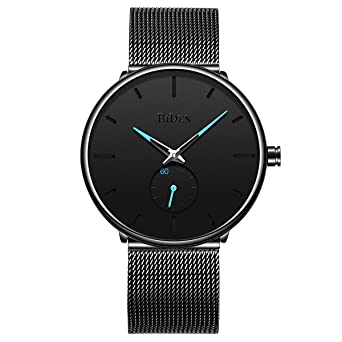Mens Watches Black Stainless Steel Ultrathin Luxury Fashion Casual Dress Waterproof Analog Wristwatch with Milanese Mesh