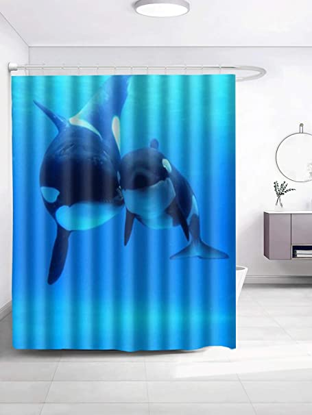Spxubz Collection Orca Killer Whales Shower Curtain Waterproof Bathroom Decor Polyester Fabric Curtain Sets With Hooks Home Kitchen