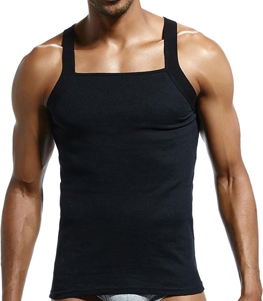 c62b8d7d6cdfa Amazon.com: JOKHOO Men's G-Unit Style Square Cut Tank Top (Black, S ...