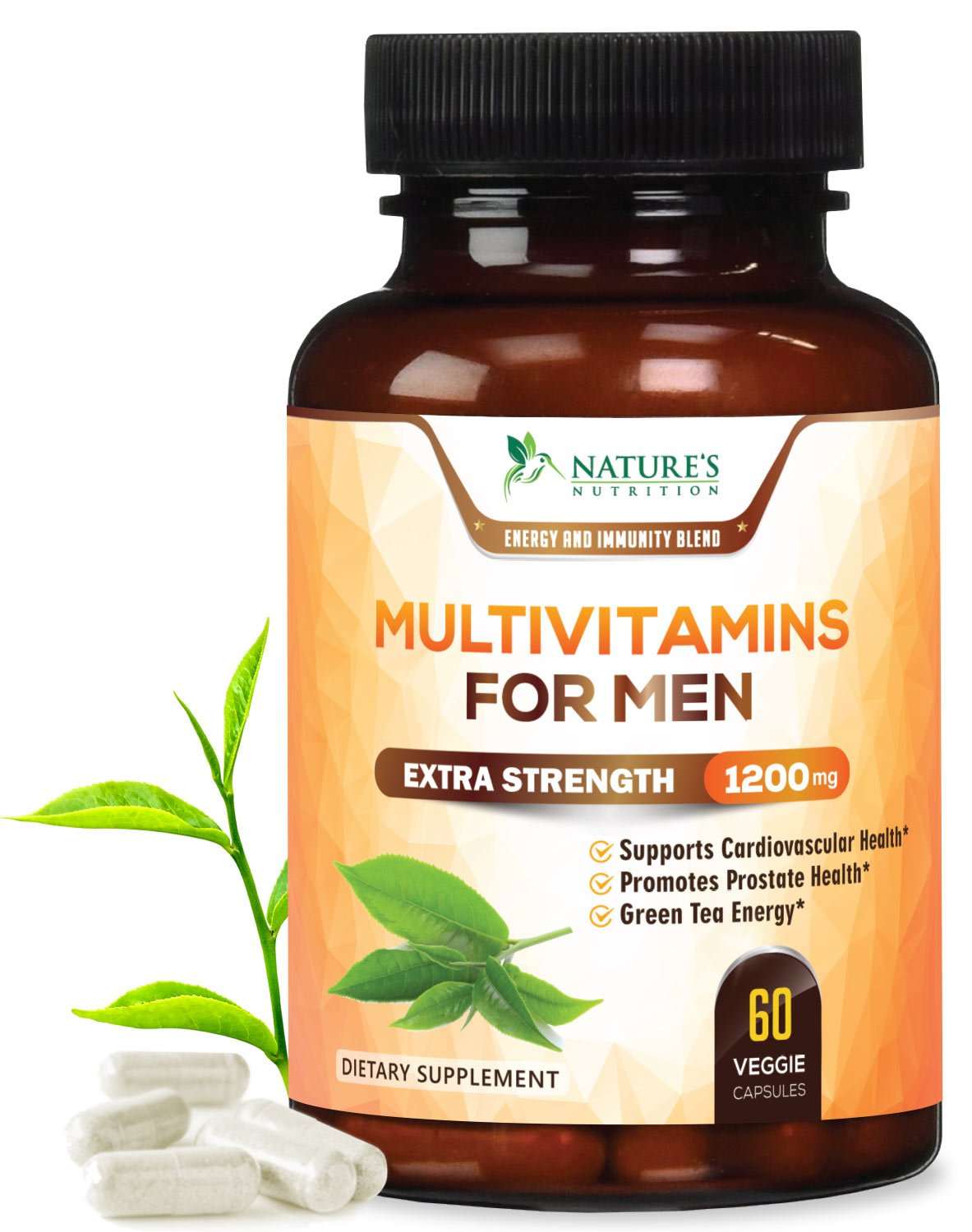 Once Daily Multivitamin for Men - with Whole Food Extracts with Vitamins C, D, E, B12, Saw Palmetto, Echinacea, Zinc, Calcium & Magnesium. Non-GMO Supplement - 60 Veggie Capsules