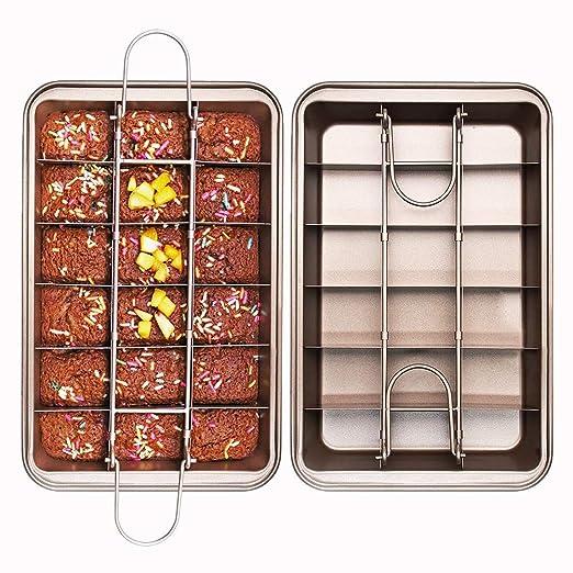 ZqiroLt Molde para tartas, antiadherente, para brownies, con ...