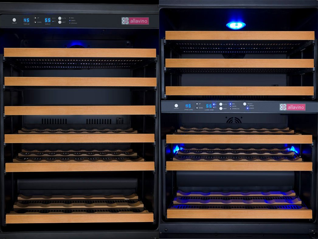 Allavino 112 Bottle Built-In Three-Zone Wine Cooler Refrigerator Black Glass Doors