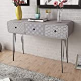Anself Shabby Chic Console Table Side Cabinet 3 Drawers Living Room Hallway Furniture Grey