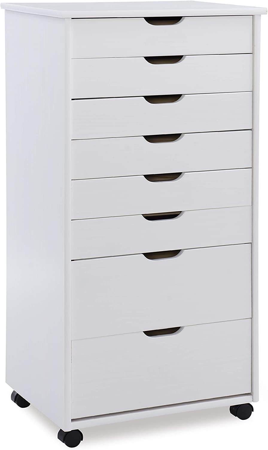 Linon Home Decor Products Corinne Eight Drawer Storage, White Wash Rolling Cart