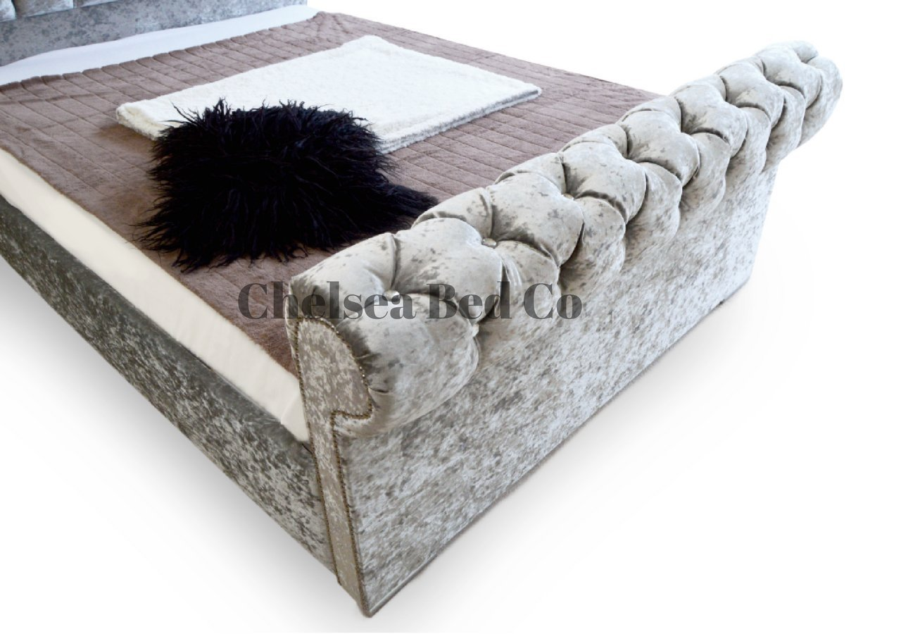 Chesterfield Bed Schlitten-gecrushter Samt mit Bett, grau ...