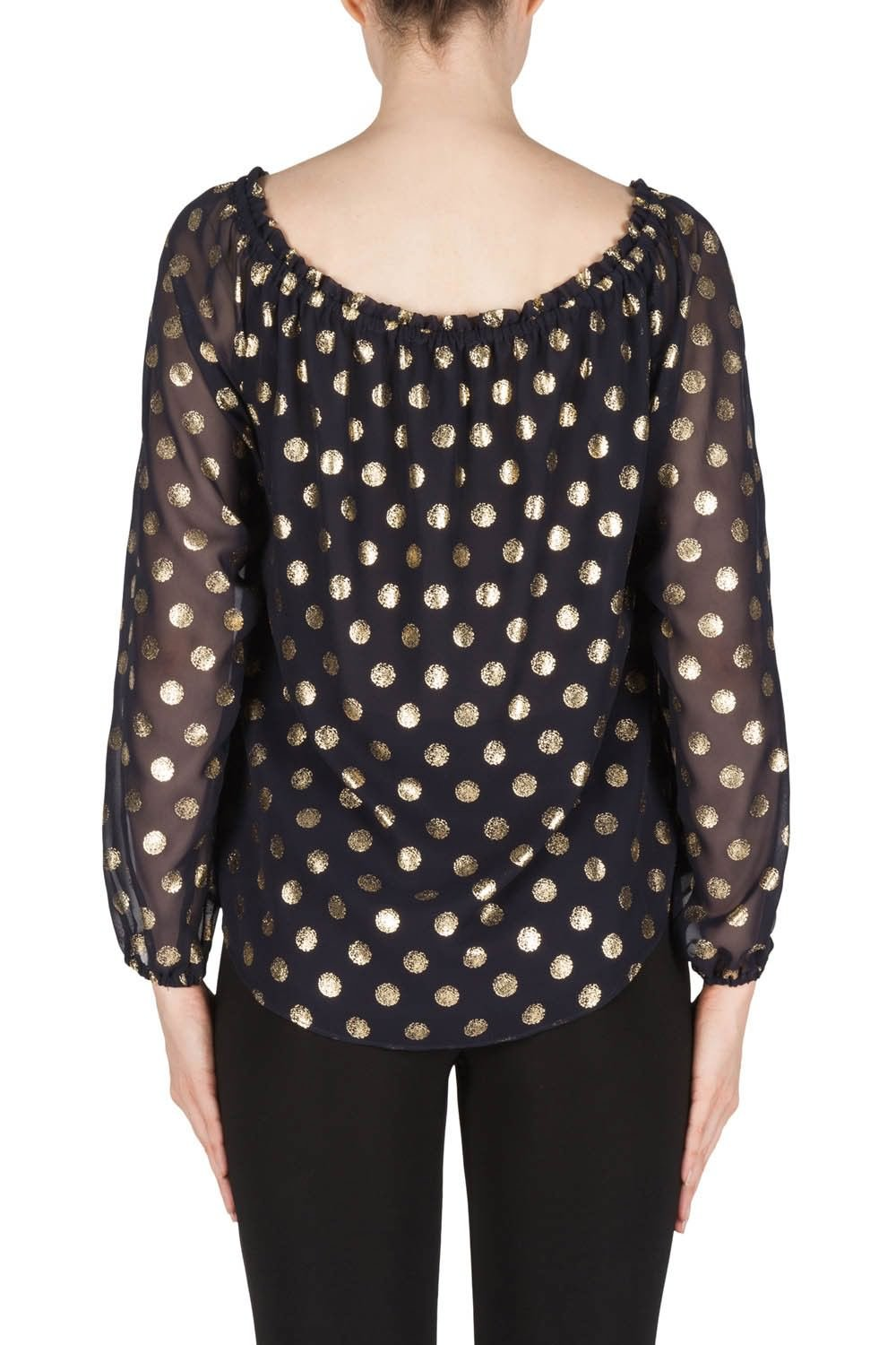 Joseph Ribkoff Midnight Blue/Gold Top With Polka Dot Details Style 181608 by Joseph Ribkoff (Image #3)