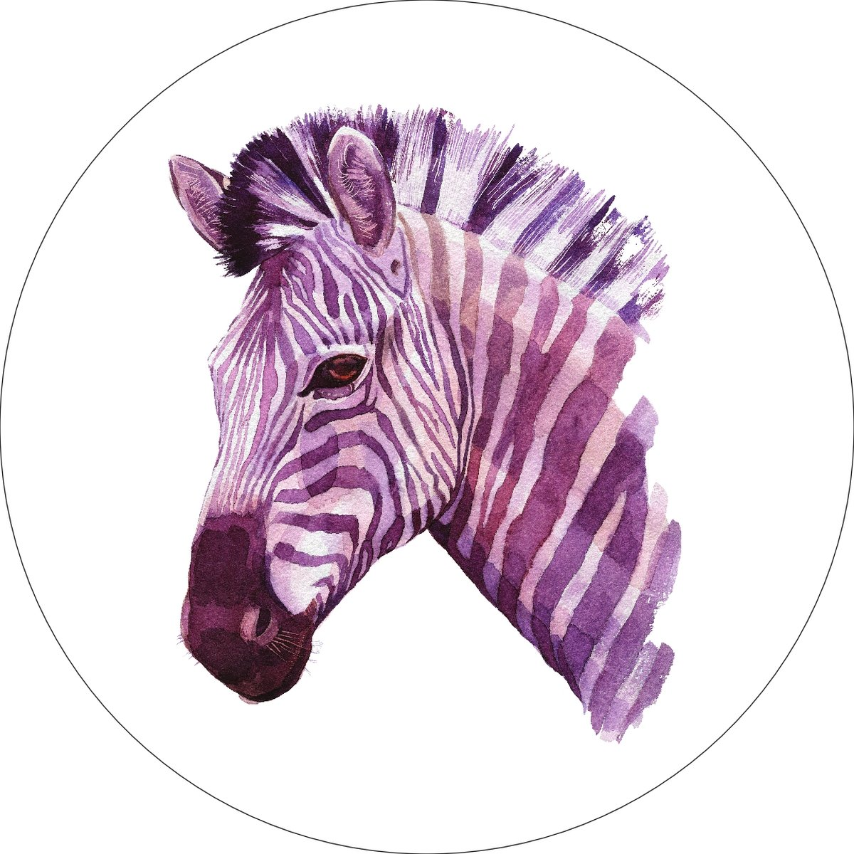 Zebra Home Wall Shelf Decor Animal Decorations Watercolor Round Sign - 12 Inch, Plastic