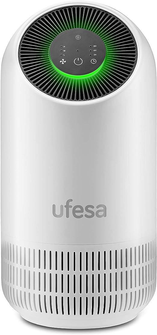 Ufesa - Purificador de Aire PF4500 Sistema de filtrado 3 capas: Pre filtro + Carbón Activo + HEPA. Neutraliza el 99.97% de polvo y bacterias con con aire limpio ...