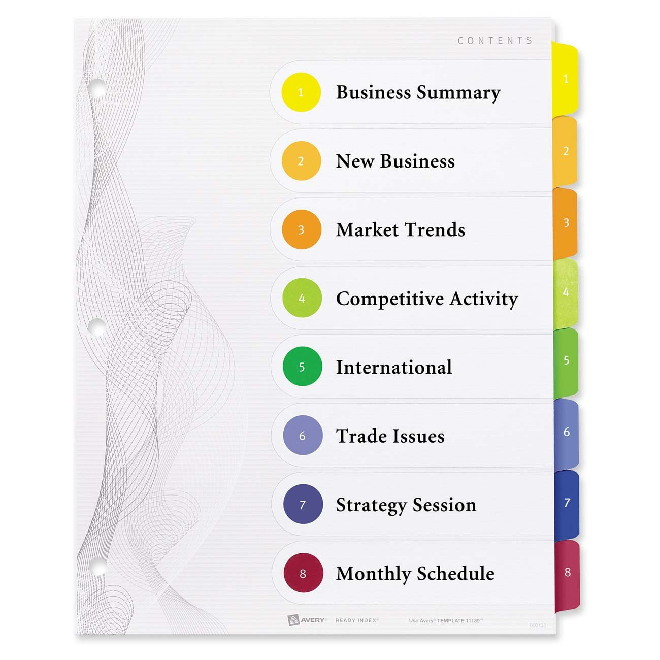 Avery Designer Ready Index Table of Contents Dividers,  8-Tab Set (11139)