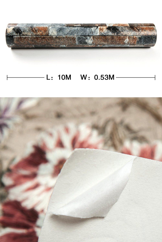 HANMERO Papier Peint Motif de Brique Pierre Vinyle 3D pour Chambre Salon TV Fond-0.53M* 10M-4 Couleurs au Choix