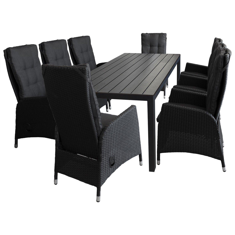9tlg. Sitzgruppe Gartengarnitur Sitzgarnitur Terrassenmöbel Gartenmöbel Set - Gartentisch, Polywood-Tischplatte, 205x90cm, schwarz + 8x Gartensessel, Poly-Rattangeflecht, stufenlos verstellbare Lehne, schwarz