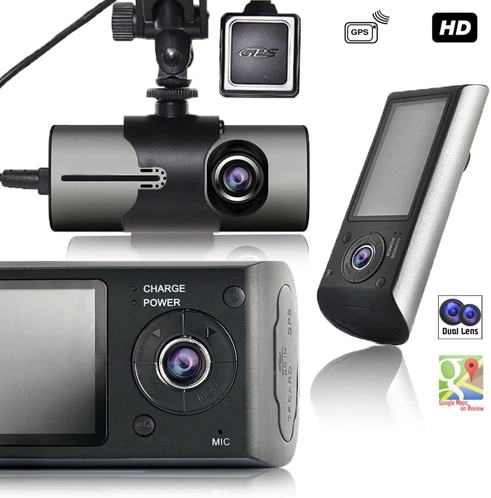 """Indigi 2.7"""" HD Wide Angle Vehicle DashCAM + GPS Module + Dual Lens (Front + in Car)"""