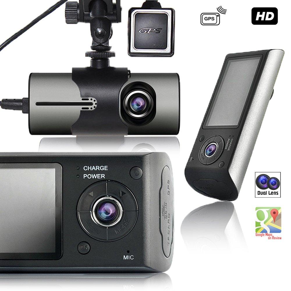 "Indigi 2019 HD Dash Cam DVR 2.7/"" LCD Dual Rotating lens File Protection"