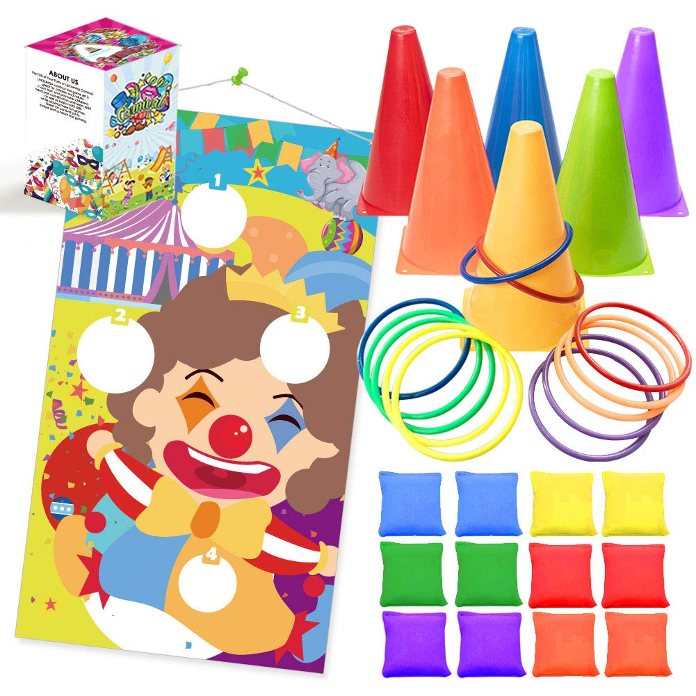 UNGLINGA Carnival Toss Games Kids Party Rings Bean Bag Tossing Cones Circus Game Obstacle Course Set for Children Family Adults Outdoor Yard Lawn Supplies by UNGLINGA