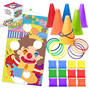 UNGLINGA Carnival Toss Games Kids Party Rings Bean Bag Tossing Cones Circus Game Obstacle Course Set for Children Family Adults Outdoor Yard Lawn Supplies