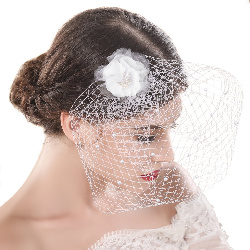 Yean Wedding Bridcage Veil with Comb floral Flower Fascinator Netting Short Blusher Veil for Brides (One Tier Veil)