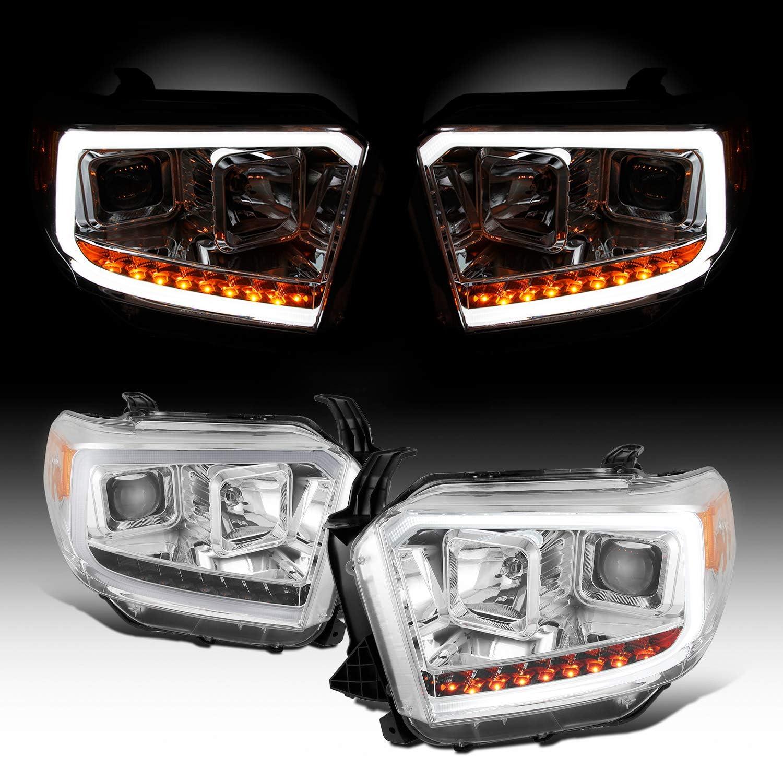 Black Fits 2014 2015 2016 2017 Toyota Tundra Light Bar Projector Headlights