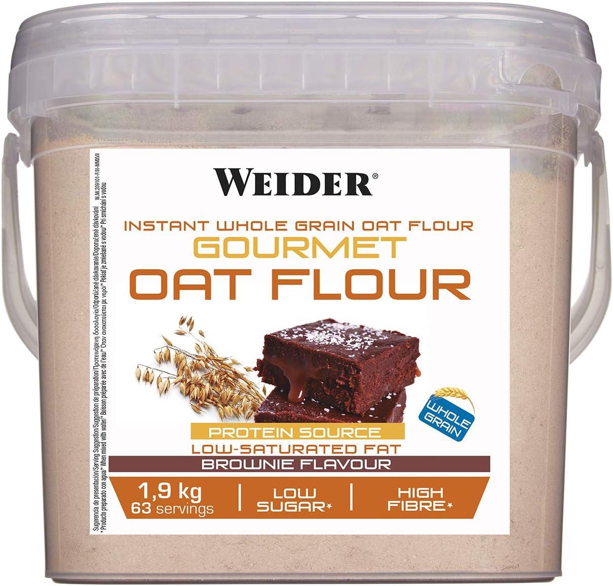 Weider Oat Gourmet - Harina de Avena Integral, fuente de proteína con bajo contenido en azúcares, sabor Brownie (1.9 kg)