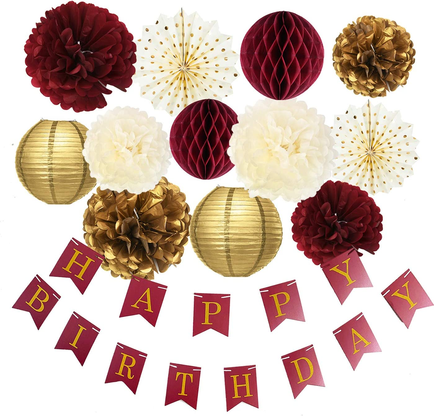 Burgundy Gold Birthday Party Decorations Burgundy Gold Happy Birthday Banner Tssue Pom Pom Honeycomb Balls Polka Dot Fans for Burgundy Fall Birthday Party Supplies/30th Birthday Decorations