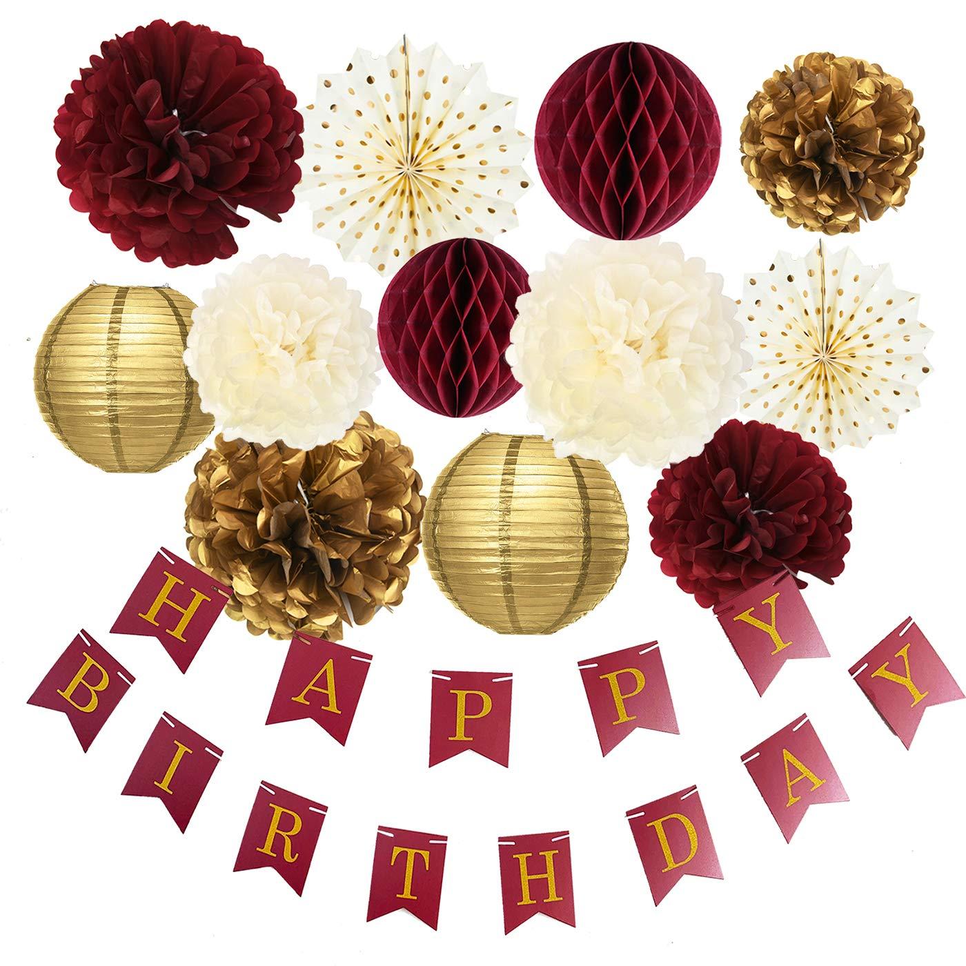 Burgundy Gold Birthday Party Decorations Burgundy Gold Happy Birthday Banner Tssue Pom Pom Honeycomb Balls Polka Dot Fans for Burgundy Fall Birthday Party Supplies/30th Birthday Decorations by Qian's Party
