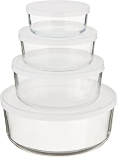 bormioli rocco frigoverre round glass foodstorage containers with frosted lids set of 4 - Glass Containers With Lids