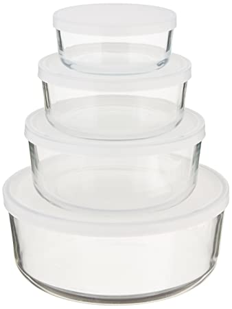 bormioli rocco frigoverre round glass foodstorage containers with frosted lids set of 4