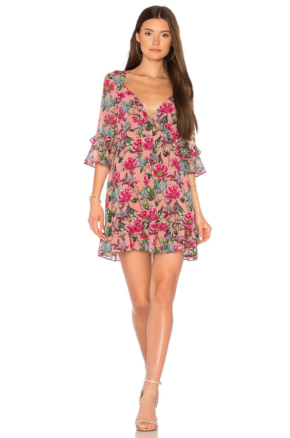 For Love & Lemons Women's Churro Mini Dress, Pink Flamenco, S