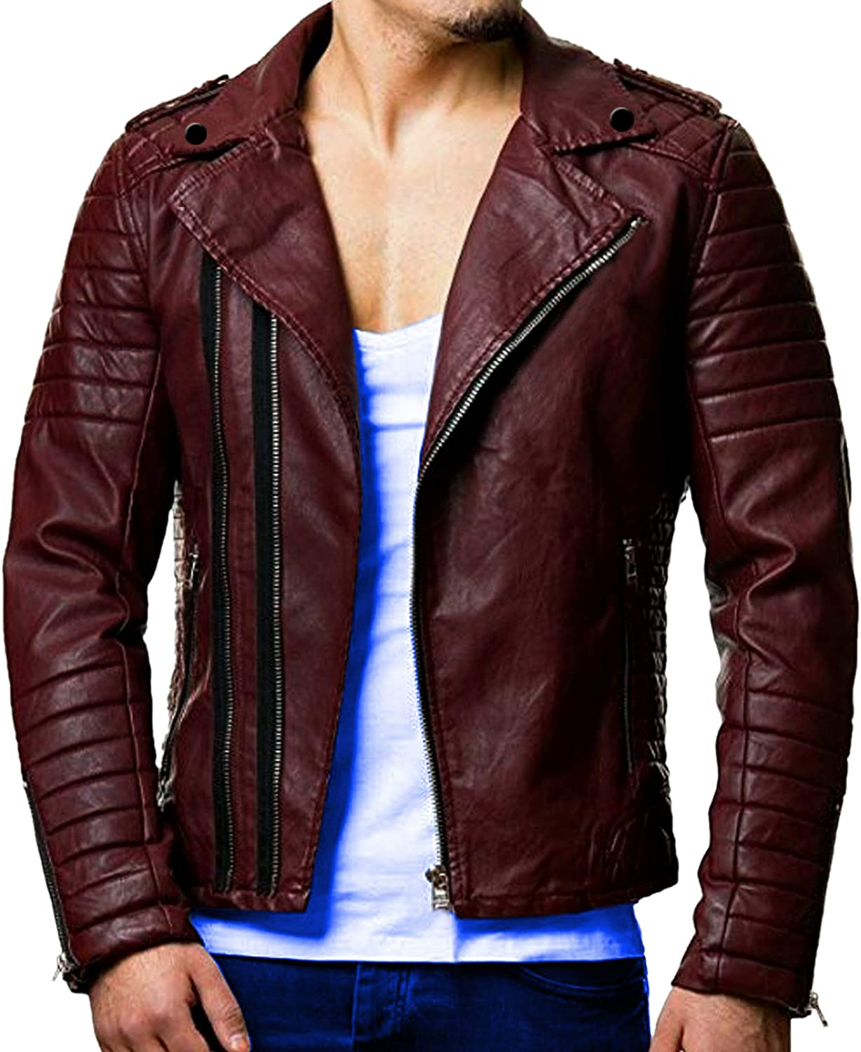 Men Genuine Lambskin Quilted Real Leather Motorcycle Slim fit Biker Jacket