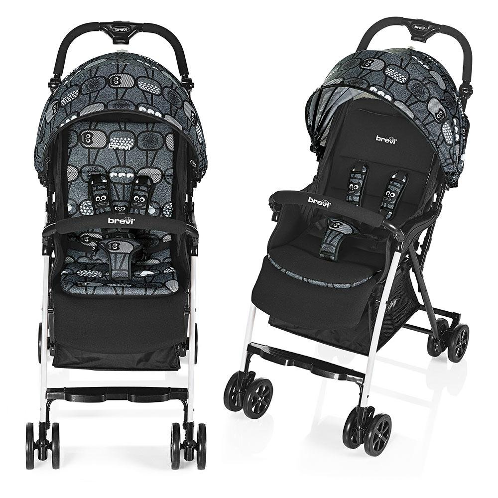 Brevi 709 – 577 Mini Large Kinderwagen, grau Eulen 709-577