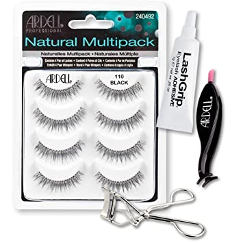 a7e0a5aee37 Ardell Fake Eyelashes 110 Value Pack - Natural Multipack 110 (Black),  LashGrip Strip