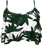 Gabrielle-Aug Women's Retro Falbala Soild Floral Flounce Bikini Top Chic Swimsuit(FBA)